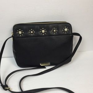 Tahari Black Glam Crossbody Bag with Embellishment